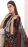 Shirt: Printed Lawn Dupatta: Printed Chiffon Trouser: Dyed Embroidery: 1. Embroidered Gala 2. Embroidered Border for Sleeves