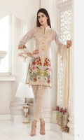 Shirt: Printed Lawn Dupatta: Dyed Net Trouser: Dyed Embroidery: 1. Embroidered Pallu for Dupatta 2. Embroidered Gala