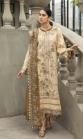 Embroidered Lawn Front Embroidered Lawn Back Embroidered Lawn Sleeves Embroidered Chiffon Contrast Dupata Embroidered Front & Back Border Dyed Cambric Lawn Trouser