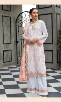 Embroidered Lawn Front Embroidered Lawn Back Embroidered Lawn Sleeves Lawn Jamawar Contrast Banarsi Dupata Embroidered Front & Back Border Dyed Cambric Lawn Trouser