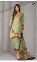 3 pcs digital printed and embroidered Cotton with embroidered Net, Schiffli embroidered & Broshia dupatta