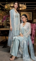 Chiffon embroidered front panels Chiffon embroidered back 30 inches organza border in tilla 60 inches organza border in metallic tilla Chiffon embroidered sleeves 2.5 yards cotton silk lining 2.5 yards silk pants 2.75 yards silver foil printed net dupatta