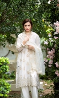 Self Jacquard lawn With Embridery And Mirrior Work Front = 1.15 Meter  Self Jacquard Embroided Lawn Back  = 1.15 Meter  Self Jacquard Embroided Lawn Sleeves = 0.65 Meter  Schiffli Embroided Cotton Trousers = 2.5 Meter  Net Dupatta With Embroidery And Mirrior Work = 2.5 Meter  Organza Embroided Border With Mirror Work For Front Hem = 0.70 Meter