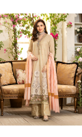 Laser Applique Front With Embroidery And Mirrior Work = 1.15 Meter  Embroided Lawn Back = 1.15 Meter  Embroided Lawn Sleeves = 0.65  Gold Jacqurad Trouser = 2.5 Meter  Dyed Jacquard Dupatta = 2.5 Meter  Embroided Organza Border For Neckline And Sleeves = 1.5 Meter  Embroided Organza Border For Front Hem = 0.65 Meter  Additional Embroided Fabric For Pannels  = 0.65 Meter