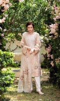 Gold Jacquard Lawn Front = 1.25 Meters  Gold Jacquard Lawn Back = 1.25 Meters  Gold jacquard Lawn Sleeves = 0.65  Embroided Digital Printed Organza Dupatta = 2.5 Meter  Cotton Trousers = 2.5 Meters  2 Embroided Motifs For Hem  2 Embroided Motifs For Sleeves