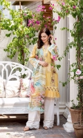 Schiffli Embroided Lawn Front = 1.15 Meter  Digital Printed Lawn Back = 1.25 Meters  Digital Printed Lawn Sleeves = 0.65  Pure Chiffon Digital Printed Dupatta = 2.5 Meter  Self Jacquard Trousers = 2.5 Meters  Embroided Organza Border For Front = 1.5 Meter  Embroided Silk Border With Pearls For Front