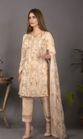 Embroidered Karandi Shirt Bimber Chiffon Embroidered Dupatta Dyed Trouser