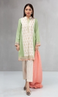 3 piece Shirt, trouser and shawl Karandi shirt with embroidered borders Cambric trouser Linen shawl