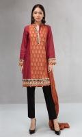 3 piece Shirt, trouser and dupatta Karandi shirt with embroidered borders Cambric trouser Linen dupatta