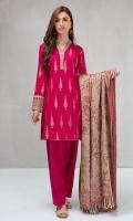 3 piece Shirt, shalwar and shawl Jacquard shirt with embroidered borders Cambric shalwar Woven shawl