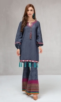 2 piece Shirt and trouser Denim blue khaddar shirt Embroidered neckline and borders Khaddar Trouser with printed border