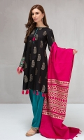 3 piece Shirt, trouser and shawl Jacquard a-line shirt Embroidered border Jacquard shawl Linen shalwar with embroidered border