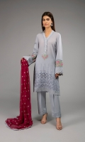 Shirt fabric: Lawn Trouser fabric: Lawn cotton Dupatta fabric: Chiffon Straight chiffli shirt with lace and pearl detailing on neckline and sleeves embroidered border on sleeves and neckline paired with matching straight pants and embroidered contrast dupatta.