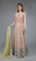 Frock fabric: Organza Pants fabric: Raw silk Dupatta fabric: Chiffon Long organza frock with embroidered body, embroidered panels ,hem and embroidered sleeves paired with raw silk matching trouser and contrast chiffon embroidered dupatta.
