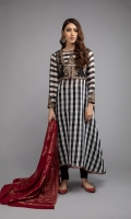Shirt fabric: Check jacquard Trouser fabric: Lawn cotton Dupatta fabric: Jacquard Long frock with tilla embroidery jacket embroidered border on sleeves and hem paired with black churi dar pajama and maroon jacquard dupatta.