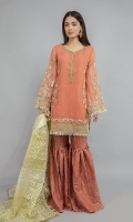 Shirt fabric: Check organza Trouser fabric: Tissue Dupatta fabric: Organza Straight shirt with embroidered border and sleeves paired with tissue embroidered gharara and contrasting two toned foiled printed dupatta.