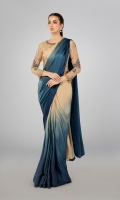 Blouse fabric: Organza Saree fabric: Pure shamoz Patti coat: Raw silk Teal Blue shaded shamoz saree Embellished blouse with embroidered sleeves