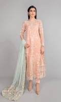Organza embroidered long shirt Organza embroidered sleeves with pearls Embellished and embroidered neckline Pearl printed net trouser Net embroidered dupatta Cotton satin lining for trouser and shirt