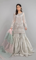Shirt fabric: Organza Undershirt fabric: Tissue Trouser: Tissue Dupatta: Organza Embroidered shirt with Embroidered sleeves and crystals and stones handwork on neckline Paired with tissue gharara and embroidered color block dupatta