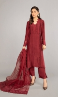 Shirt fabric: Pure raw silk Trouser fabric: Pure raw silk Dupatta fabric: Organza Straight long shirt with pleating and fabric triangle details on the front, pleating details with self embroidery on sleeves Matching embroidered dupatta