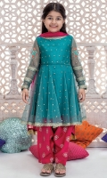 3 piece Frock, Shalwar and Dupatta net embroidered frock Embroidered patti and motif on sleeves grip screen printed trouser chiffon dupatta Embellished with kiran and gota lace.