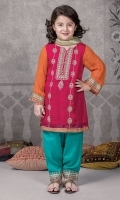 3 piece shirt shalwar and dupatta Pink chiffon embroiderd shirt with embroidered orange chiffon slevess Green grip shalwar Gold organza dupatta Embellished with pearls and buttons