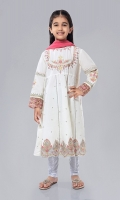 Shirt fabric: Raw silk Trouser fabric: Silver tights Dupatta fabric: Net Silk frok with embroidered neckline, sleeves and ghera pati with tight and net dupatta.