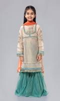 Shirt fabric: Cotton net Trouser fabric: Net Dupatta fabric: Chiffon Cotton net embroidered shirt front embroidered sleeves with net screen printed sharara and orange chiffon dupatta.