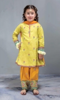 3 Piece Shirt, Trouser, Dupatta Self-printed green embroidered shirt with cambric yellow embroidered shalwar Orange net dupatta Embellished with tilla balls and kiran lace