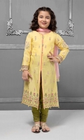 3 piece Shirt, Trouser and Dupatta Yellow front open long embroidered lawn shirt with green lawn trouser Pink chiffon dupatta Embellished with pearls and buttons
