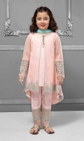 3 piece Gown, Trouser and Dupatta Pink front open net gown with grip undershirt Embroidered sleeves and hem Pink grip embroidered trouser Blue net dupatta Embellished with pearls, sequin and buttons