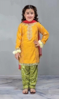 3 Piece Shirt, Trouser, Dupatta Self-printed yellow embroidered shirt with screen printed cambric shalwar Red net dupatta Embellished with buttons and kiran lace