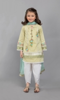 3 Piece Shirt fabric: Lawn Trouser fabric: Lawn Dupatta fabric: Chiffon Lawn screen printed shirt Shiffli and embroidered patch on sleeves and hem Tulip shalwar Embellished with tassels and lace Chiffon dupatta