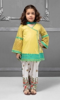 3 piece Shirt, Shalwar and Dupatta Lime green lawn angrakha shirt with screen printed sleeves Embroidered shirt sleeves and hem White lawn embroidered shalwar with blue chiffon dupatta Embellished with tassels