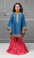3 piece Frock, Gharara and Dupatta Blue self- printed lawn frock with embroidered pati on hem, sleeves and neckline Pink cambric screen printed gharara Mustard chiffon dupatta Embellished with coins and buttons