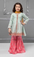 3 piece Frock, Gharara and Dupatta Sea green self-printed lawn frock with embroidered sleeves, hem and neck Pink cambric screen printed lawn trouser Mustard chiffon dupatta Embellished with pearls buttons and kiran lace