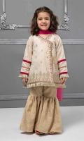 3 piece Angrakha, Gharara and Dupatta Off white lawn embroidered angrakha shirt with jacquard gharara Pink chiffon dupatta Embellished with kiran lace and tassels