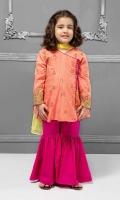 3 piece Angrakha, Gharara and Dupatta Orange jacquard embroidered angrakha with pink lawn gharara Yellow chiffon dupatta Embellished with pearls and tassels