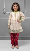 3 piece A-line shirt, Shalwar and Dupatta White jacquard A-line shirt with embroidered pati on sleeves and hem Pink lawn screen printed shalwar Green chiffon dupatta Embellished with pearls and buttons
