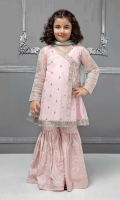 3 piece Angrakha frock, Gharara and Dupatta Pink net angrakha frock with embroidered pati on hem, sleeves and neck Pink grip gharara with blue chiffon dupatta Embellished with kiran lace and tassels
