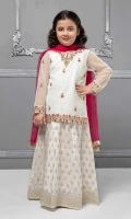 3 piece Lehnga choli and Dupatta White net embroidered shirt with grip screen printed lehnga Pink chiffon dupatta Embellished with buttons, pearls and kiran lace