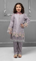 3 piece Shirt, Trouser and Dupatta Purple jacquard shirt with embroidered pati on hem and sleeves Purple grip screen printed trouser Pink chiffon dupatta Embellished with pearls, buttons and kiran lace
