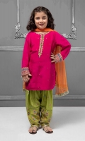 3 piece Shirt, Shalwar and Dupatta Pink grip shirt with embroidered pati on neck and sleeves Green grip embroidered shalwar Orange chiffon dupatta Embellished with pearls, sequences and buttons.