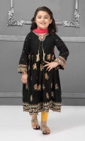 3 piece Frock, Tights and Dupatta Black lawn embroidered long frock with yellow tights Pink chiffon dupatta Embellished with coins and tassels