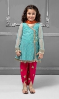 Angrakha, Shalwar and Dupatta Ferozi angrakha net shirt with screen printed grip under shirt Embroidered sleeves and neckline Pink grip embroidered tulip shalwar Orange net dupatta Embellished with sequence, kiran lace and tassels