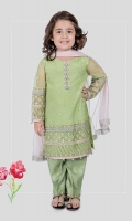 3 piece Shirt, trouser and dupatta Green net embroidered shirt with green grip screen printed trouser Pink chiffon dupatta Embellished with tilla balls and kiran lace