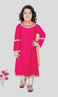 3 piece Frock, trouser and dupatta Pink khadder long frock with embroidered hem and neck White khadder embroidered trouser with orange chiffon dupatta Embellished with kiran lace, tassels and pearls
