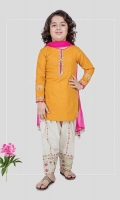 3 piece Shirt, shalwar and dupatta Yellow khadder shirt with embroidered sleeves and neck White khadder embroidered shalwar with pink net dupatta Embellished with sequin, buttons and kiran lace