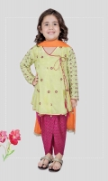 3 piece Frock, shalwar and dupatta Lime green grip embroidered angrakha frock with pink screen printed tulip shalwar Orange net dupatta Embellished with kiran lace, tassels and pearls