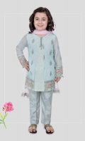 3 piece Gown, trouser and dupatta Sky blue embroidered net gown with grip under shirt Blue grip screen printed trouser Pink net dupatta Embellished with tassels, pearls and kiran lace